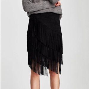 Zara suede fringe black skirt